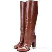 PRADA 小牛皮素面高跟長靴(咖啡色) 1510045-07