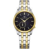 Olympia Star 奧林比亞之星 經典都會系列小秒針時尚計時腕錶-黑/36mm