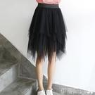 網紗短裙不規則網紗半身裙2020春夏新款黑色紗裙中長款莎莎裙顯瘦a字短裙 伊蒂斯