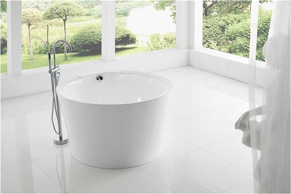 【麗室衛浴】BATHTUB WORLD  LS-029 小空間坐缸 圓型壓克力造型獨立缸 一體成型無邊縫 120*H70CM
