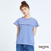 SOMETHING 細條紋荷葉圓領短袖T恤-女款 藍色