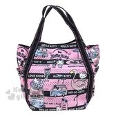 〔小禮堂〕Hello Kitty 帆布托特包手提包《粉黑.紅鶴》手提袋.外出袋.便當袋 4582135-13201