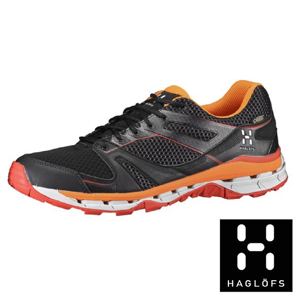 【瑞典Haglofs】OBSERVE SURROUND 男GT防水健行鞋- 鋼琴黑熾熱橙 健行休閒防水GORE-TEX 497610