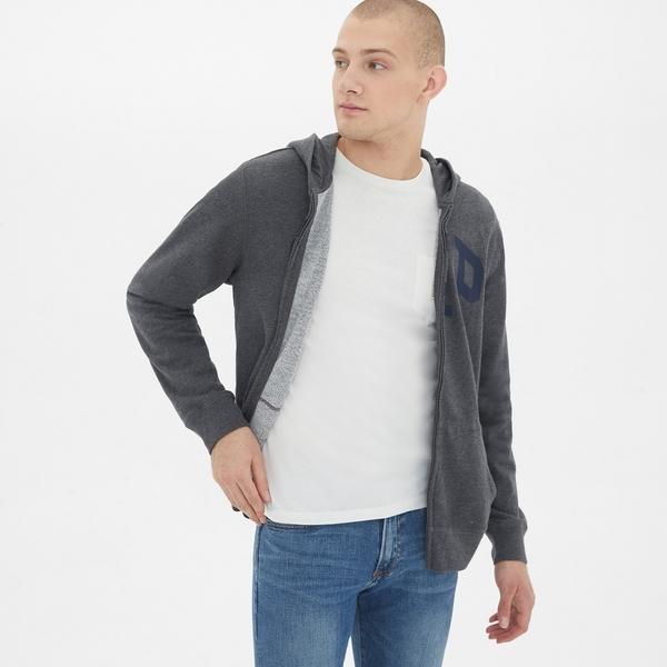 Gap男裝 logo拉鏈長袖休閒上衣 511538-純炭灰色