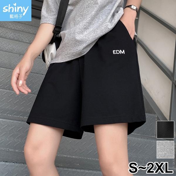【V9334】shiny藍格子-悠閒漫步.運動寬鬆休閒直筒中短褲