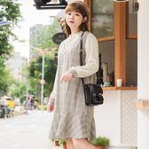 Poly Lulu 復古配色格紋假兩件魚尾洋裝-棕色【92290211】