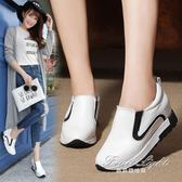 英倫風平底一腳蹬女鞋內增高坡跟厚底休閒樂福鞋 早秋新品