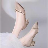 高跟鞋女淺口粗跟單鞋秋鞋新品正韓學生百搭尖頭職業中跟女鞋