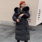 羽絨夾克-白鴨絨-狐狸毛領連帽腰帶長版女外套4色73zc3【時尚巴黎】