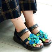 MODO.黑絲絨/高貴搖滾金屬皮面-THE ONE 氣墊鞋涼鞋 (全牛皮)-F53007 黑