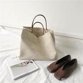 韓國時尚簡約復古純色手提帆布包女百搭休閒學生購物袋大容量包包 交換禮物