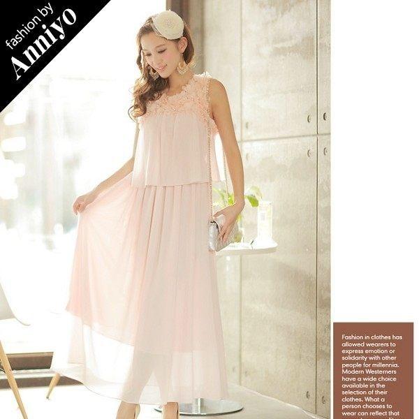 Anniyo安妞‧無袖圓領氣質夢幻波希米亞海邊度假純色雪紡長裙沙灘裙長洋裝 粉色