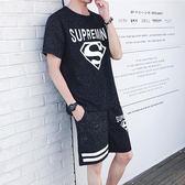 夏季青少年休閒套裝男日韓修身短袖短褲運動薄款學生潮流衣服一套