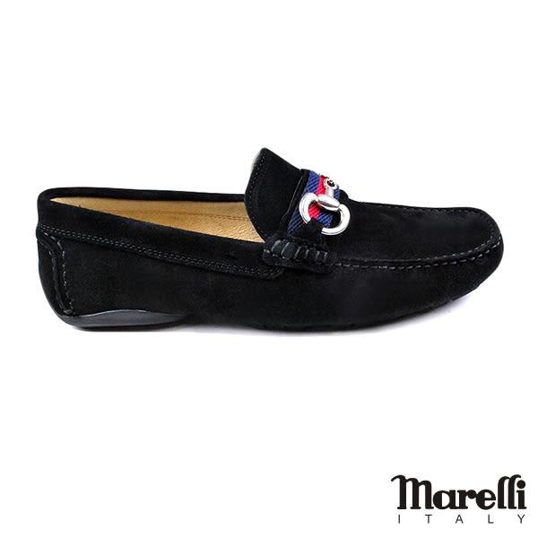 【Marelli】雙D釦飾反絨皮休閒鞋 黑色(560562-BLS)