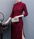 (45 Design)  大尺碼短禮服蕾絲 中國風 中老年旗袍 兒女結婚婚禮洋裝6