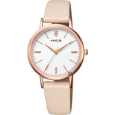 夏季廣告款 CITIZEN 星辰 Wicca 少女系列手錶-玫瑰金框x杏色/30mm KP5-166-10