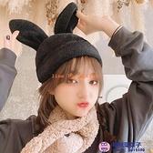 韓國百搭可愛兔耳朵帽子冬季保暖少女心文藝學生IG潮毛絨貝雷帽【櫻桃菜菜子】