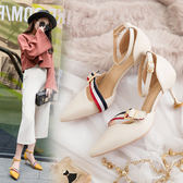 高跟涼鞋女2019新款韓版尖頭細跟高跟鞋淺口一字扣中跟女鞋貓跟涼鞋女 夏洛特