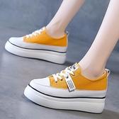 內增高小白鞋女2021年新款韓版時尚百搭厚底增高鬆糕底鞋帆布鞋女 8號店