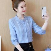 秋裝女2018新款韓版立領上衣棉麻襯衫女長袖打底衫氣質洋氣白襯衣  韓風物語