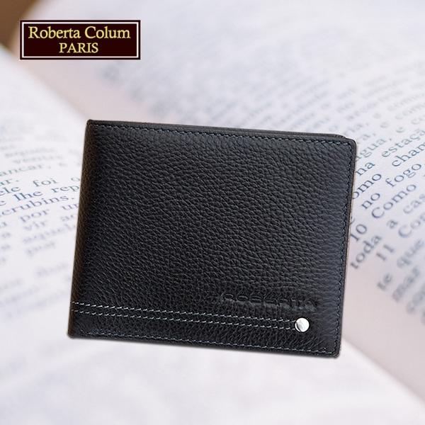 【Roberta Colum】諾貝達 男用皮夾 短夾 專櫃皮夾 進口軟牛皮鉚釘短夾 (黑色-23151)【威奇包仔通】