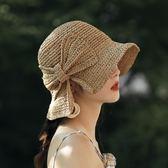 小沿草帽女夏天防曬帽海邊沙灘帽蝴蝶結漁夫帽可折疊遮陽帽太陽帽 喵小姐
