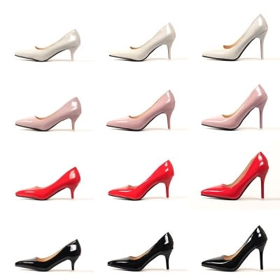 大尺碼48碼細跟高跟鞋 45 47高跟鞋女淺口細跟漆皮尖頭反串演出大碼46JA3991『美鞋公社』