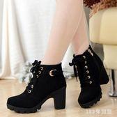 中大尺碼馬丁靴韓版高跟粗跟女靴子系帶短筒靴女短靴馬丁靴單靴女鞋 LH6936【123休閒館】
