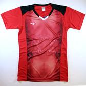 (A9) (送贈品) MIZUNO 美津濃 紅X黑 V2TA7A3081 男女通用排汗透氣印花排球上衣[陽光樂活=]
