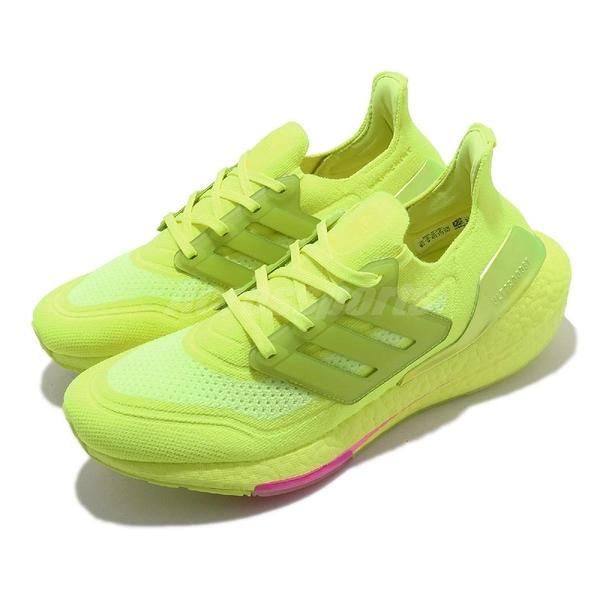 adidas 慢跑鞋 Ultraboost 螢光綠 男鞋 Boost 頂級緩震舒適 運動鞋【ACS】 FY0848