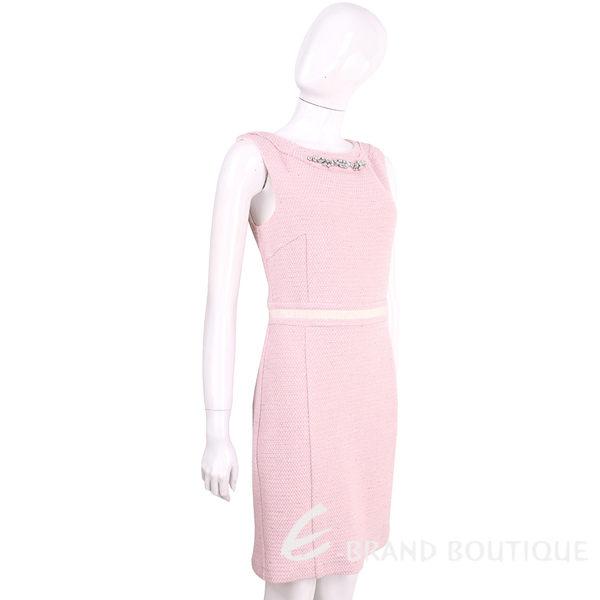 BLUGIRL 粉色鑽領織紋毛呢無袖洋裝 1620461-05