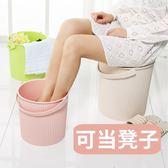 水桶凳塑料加厚可坐家用釣魚桶手提洗澡籃洗衣桶幼兒園收納桶帶蓋 名稱家居館igo