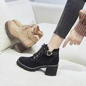 時尚短靴 馬丁靴女鞋子英倫風靴子新款百搭高跟短靴粗跟春秋款加絨冬季 新年禮物