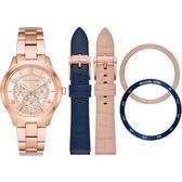 【台南 時代鐘錶 Michael Kors】MK3983 雙色風格可變替換式 三眼日期腕錶組合 玫瑰金