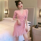 夜店女裝v領低胸性感洋裝秋冬新款收腰修身顯瘦包臀魚尾短裙子