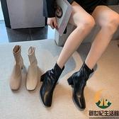 方頭粗跟瘦瘦高跟鞋短靴馬丁靴女春秋季單靴【創世紀生活館】