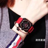 女錶時尚潮流女士防水皮帶手錶女學生正韓簡約休閒大氣運動大錶盤xw