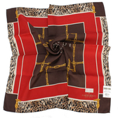 TRUSSARDI 方鍊虎紋飾邊混棉帕巾(咖啡/紅)989045-37