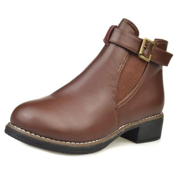 {丁果時尚}女鞋►短靴 金屬釦環帶低跟踝靴4色全新現貨供應