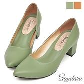 OL中跟鞋 簡約彈性足弓減壓尖頭鞋-湖水綠