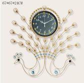 一紅孔雀時尚藝術掛錶裝飾時鐘錶創意掛鐘客廳現代靜音大號石英鐘(金色雙孔雀)