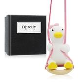 OPretty 歐沛媞 室內/車用 香氛擴香石掛飾-鞦韆鴨-粉色蝴蝶結(4X4X6.5cm)