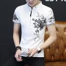 2021新款短袖t恤男夏季潮流冰絲半袖體恤男士潮牌polo衫男裝衣服 快速出貨