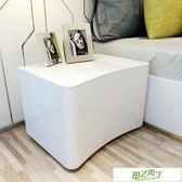 床頭柜現代簡約歐式白色烤漆北歐個性儲物臥室儲物柜新年鉅惠