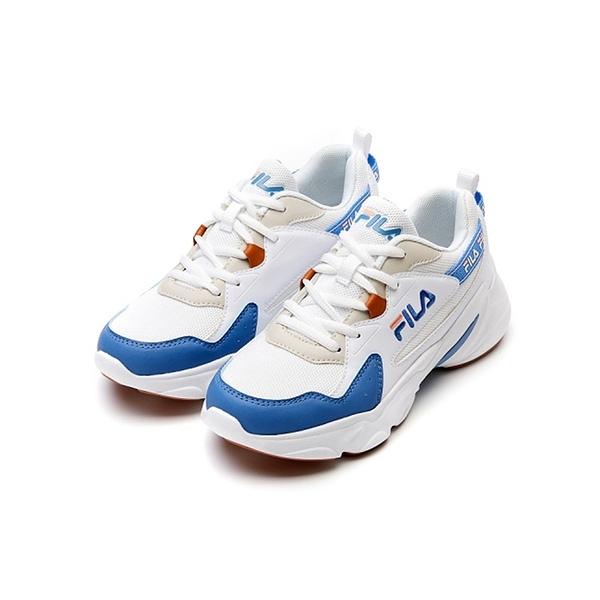 FILA HIDDEN TAPE2 女款白藍復古厚底休閒鞋-NO.5J329V133