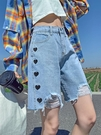 牛仔短褲 破洞牛仔短褲女夏季薄款高腰2021年新款寬鬆顯瘦愛心直筒五分中褲 韓國時尚 618