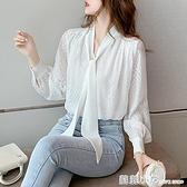2020秋裝新款蝴蝶結系帶寬鬆長袖雪紡衫女職業洋氣白襯衫氣質上衣 蘇菲小店