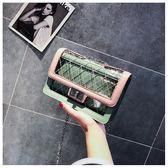 斜背包 側背包 包包 網格 透明 鎖釦 手拿包 多功能 鍊條 側肩包-單肩/斜背包【DM8854】 BOBI  08/30