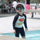 *╮小衣衫S13╭*夏季男童帥氣超人長袖泳衣褲套裝1070423