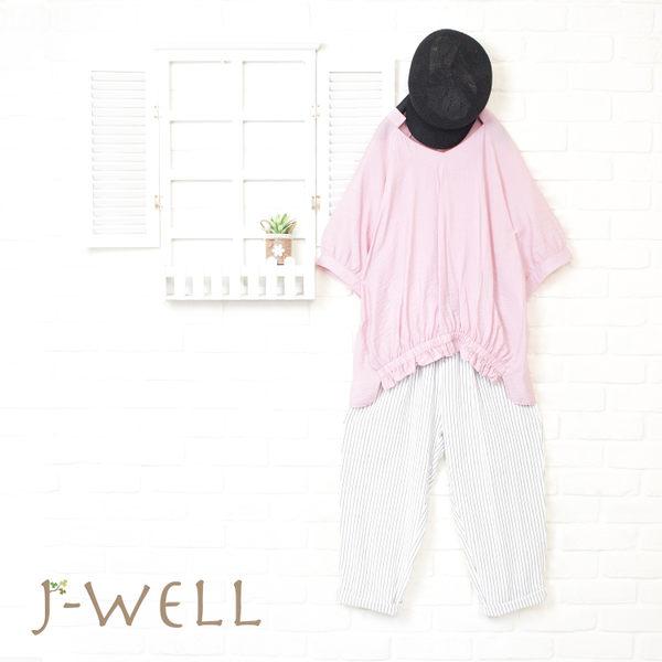 J-WELL 前短後長百搭V領上衣長褲二件組 (組合A58 8J1561粉+8J1501白)